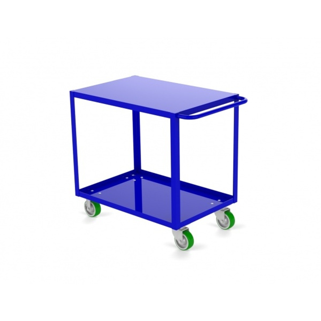 """Valley Craft Two Shelf 18 x 36"""" Flush-Top Utility Cart, Blue with Poly Casters"""