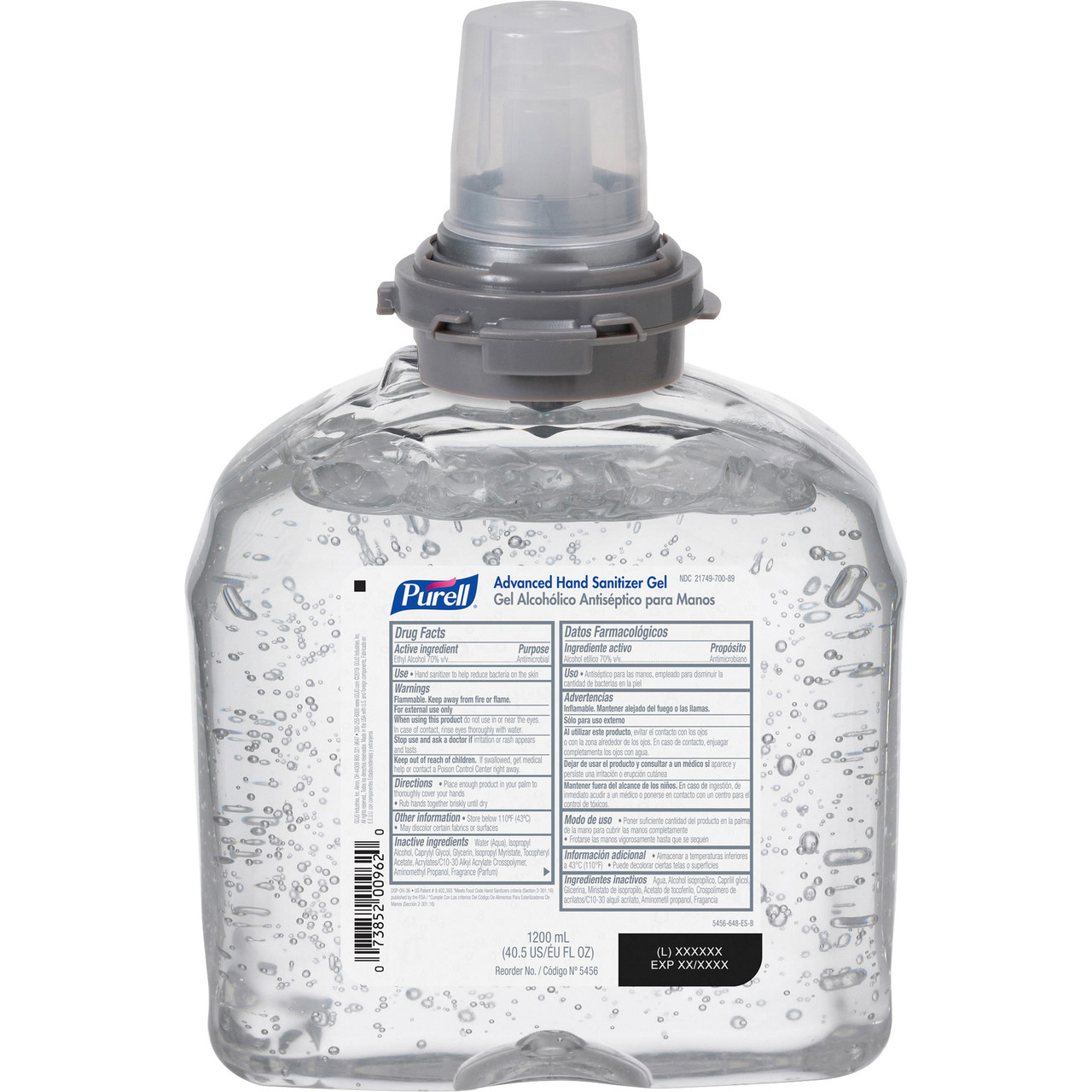 PURELL® TFX Hand Sanitizer Dispenser Refill - 40.6 fl oz (1200 mL) - Kill Germs - Hand, Skin - Clear - Moisturizing, Antimicrobial - 4 / Carton