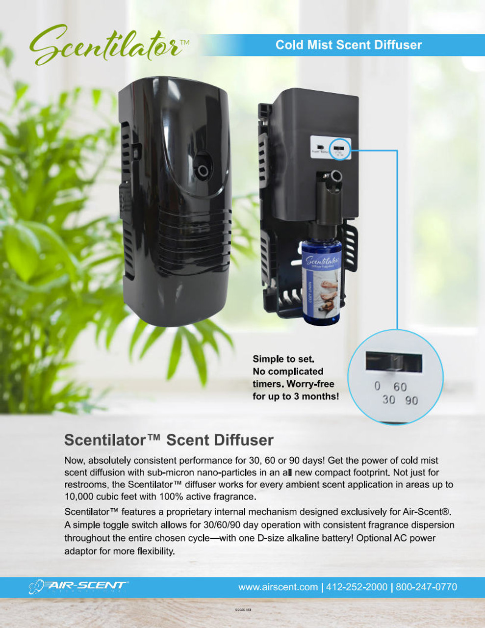 New Airscent PRO Scentilator Battery-Operated Dry Vapor Mist Diffuser-(Case of 12)