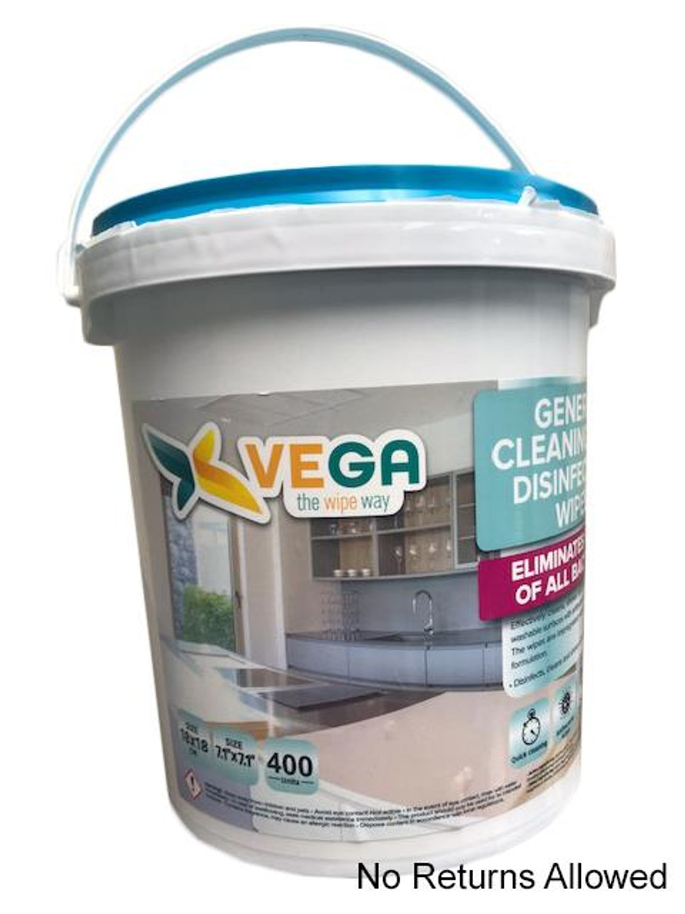 Vega Disinfecting Wipes, Ready-To-Use Wipes - 400, Kills 99.9 % (NON-RETURNABLE)