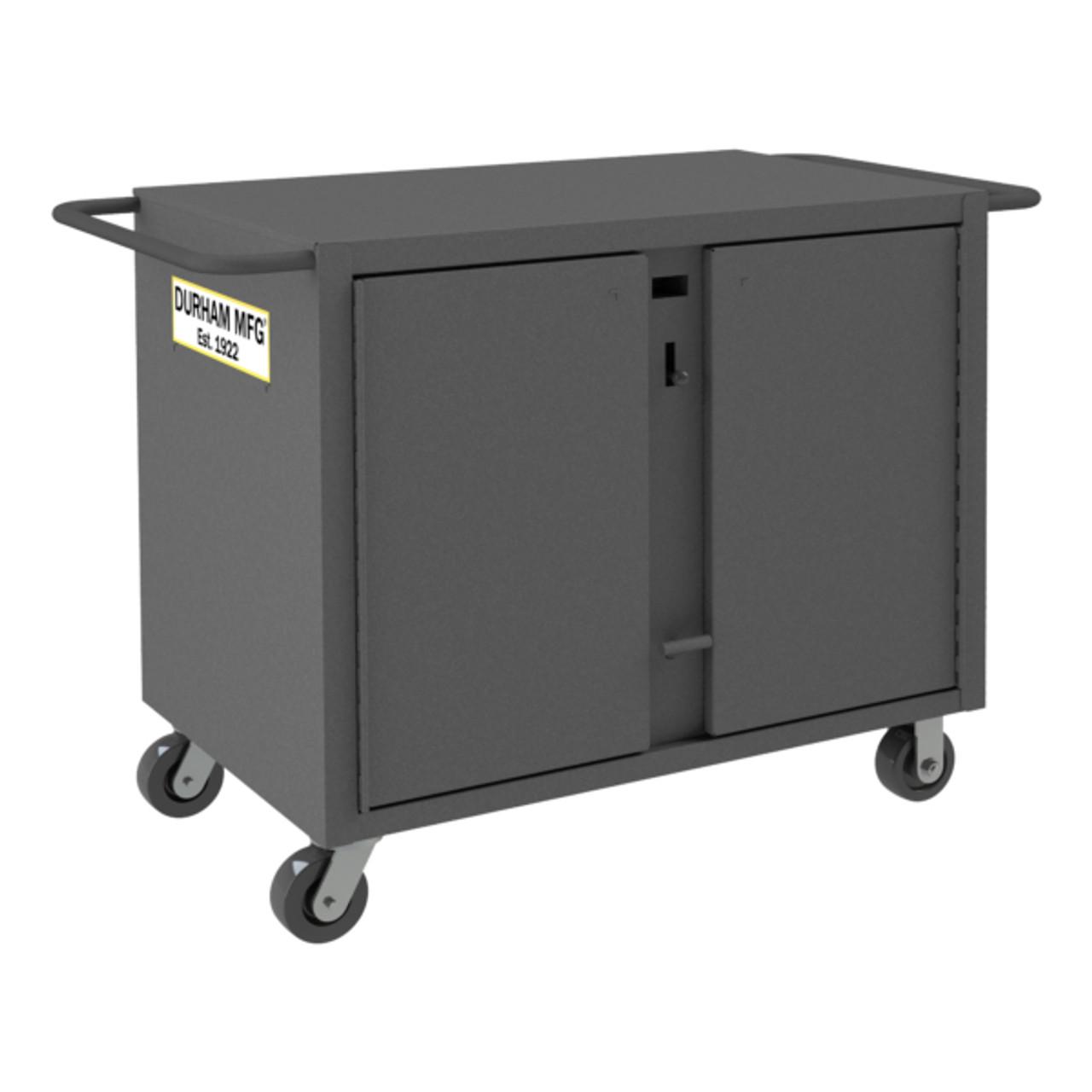 Original Durham Mobile Jobsite Cabinet, 14 Gauge Steel, 26-7/8 x 55-3/4 x 39-7/8, Gray