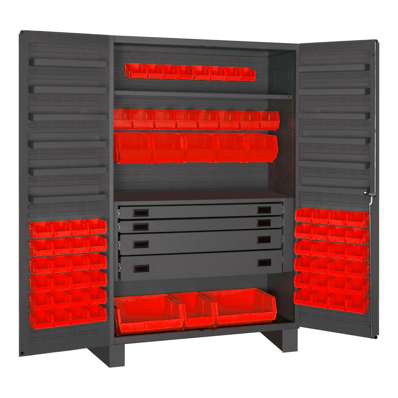 Original Durham Cabinet, 14 Gauge, 4 Drawer, 12 Door Shelves, 69 Red Bins , 48 x 24 x 78