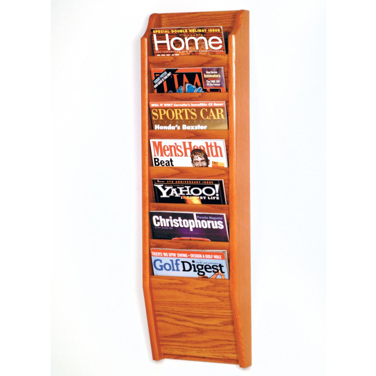 Wooden Mallet Cascade 7 Pocket Magazine Rack, Black/Light Oak