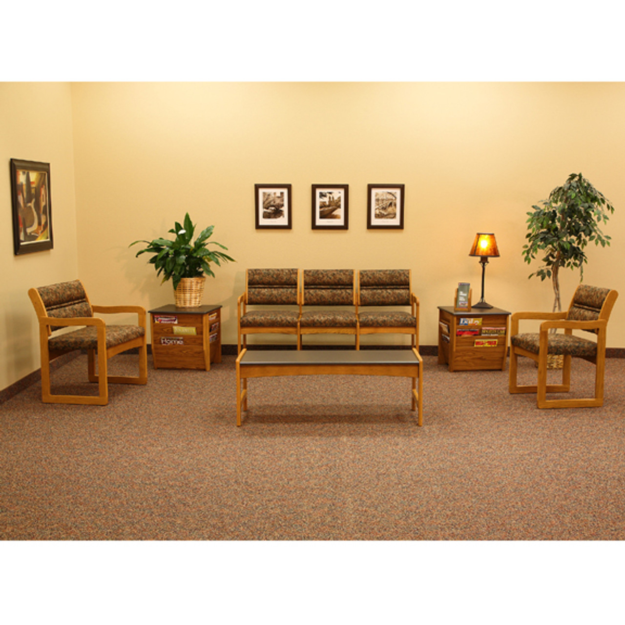 Wooden Mallet Valley Collection Four Seat Sofa, Sled Base, Leaf Blue, Light Oak