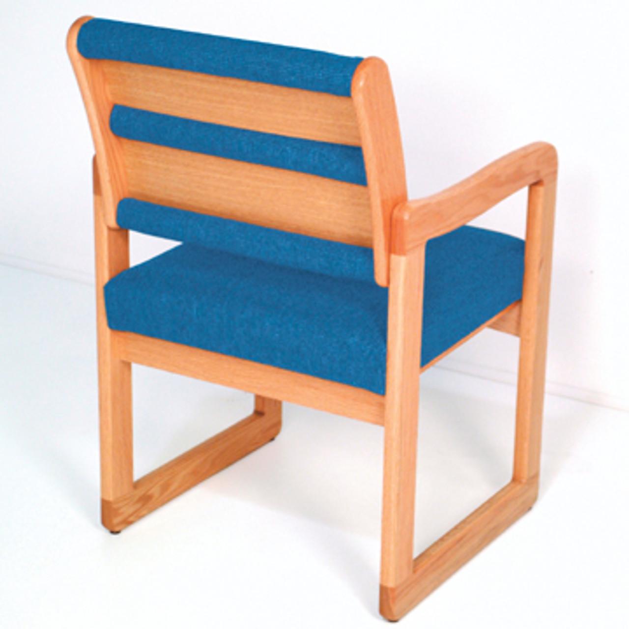 Wooden Mallet Valley Collection Armless Guest Chair, Standard Leg, Leaf Green, Light Oak