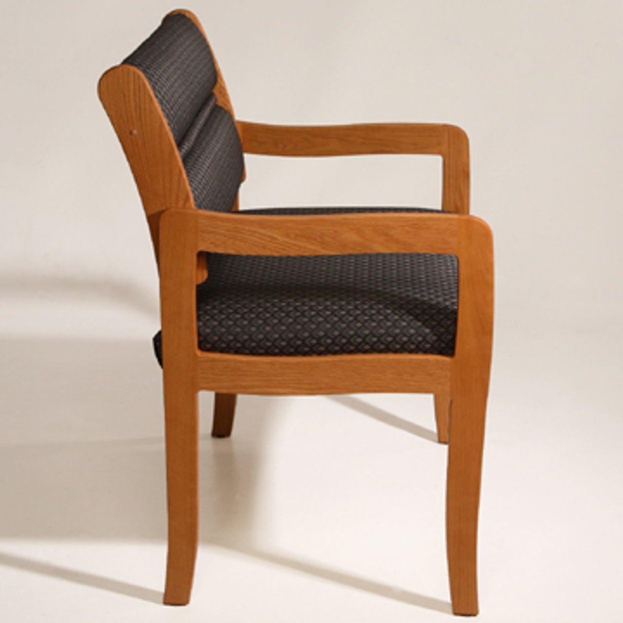 Wooden Mallet Valley Collection Three Seat Bariatric Chair, Center Arms, Standard Leg, Leaf Green, Light Oak