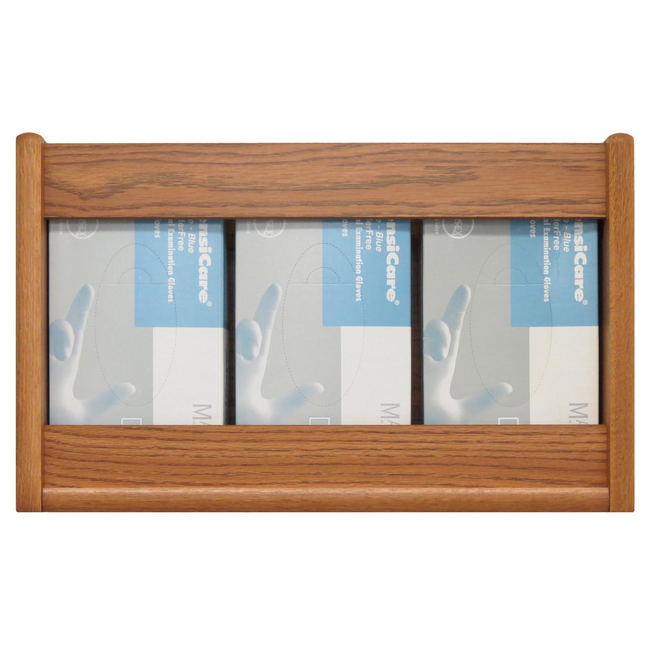 Wooden Mallet 3 Pocket Glove/Tissue Box Holder, Rectangle, Black/Light Oak
