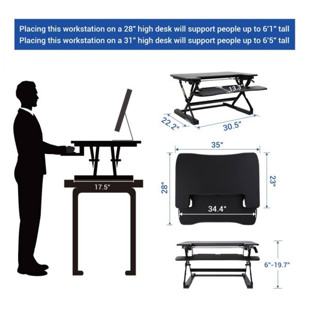 "FlexiSpot M8MB 35"" Height Adjustable Desk Converter"