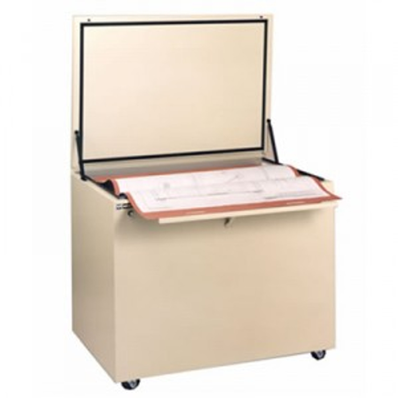 This blueprint file cabinet is perfect for map storage and Blueprint filing. Replaces 6 flat file cabinets in one third the floor space.