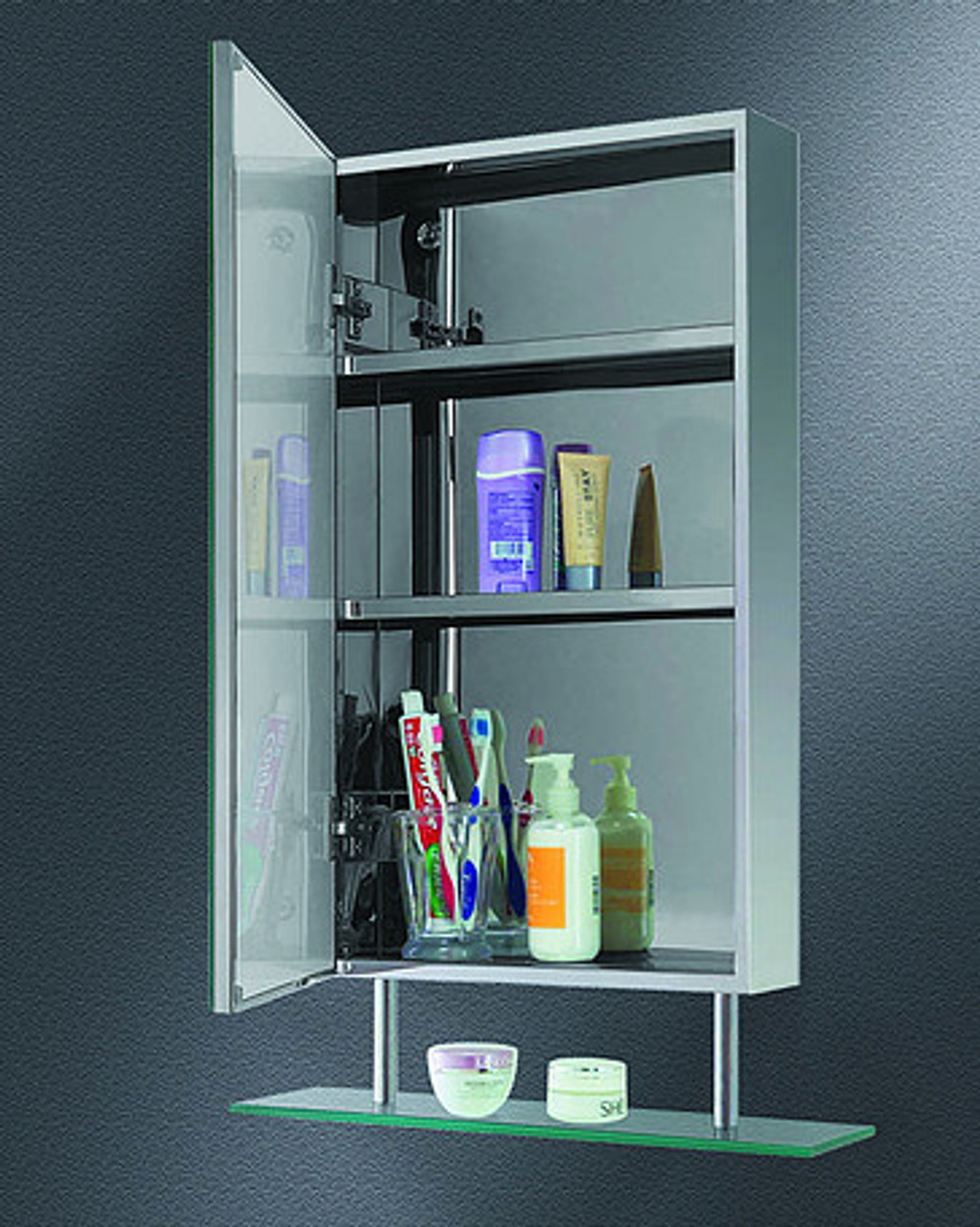 Ketcham Corner Medicine Cabinets Stainless Steel Series with Suspended Shelf