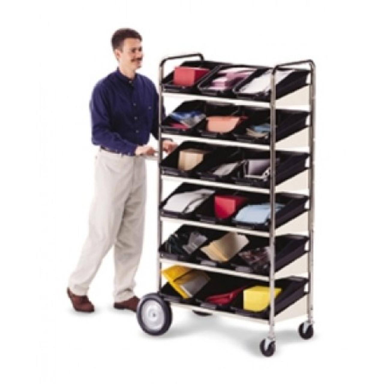 Charnstrom Carts Six Shelf Mobile Bin Mail Distribution Cart