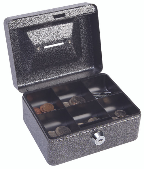 "Hercules CB0604 Key Locking Cash Box, 6"" x 4.62"" x 3"", Recycled Steel, Silver Vein Coin Cash Box"