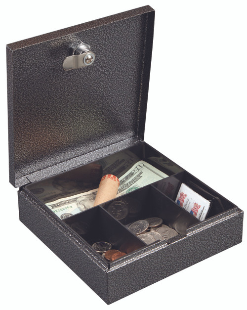 "Hercules CB0707 Key Locking Cash Box with 4 Compartment Tray, 6.75"" x 6.87"" x 2"", Recycled Steel, Silver Vein"
