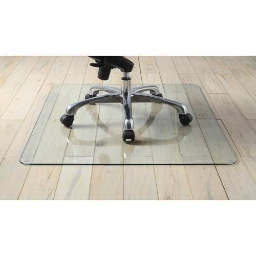 "Lorell Tempered Glass Chairmat, Floor - 60"" Length x 48"" Width x 0.25"" Thickness - Rectangle - Tempered Glass - Clear"