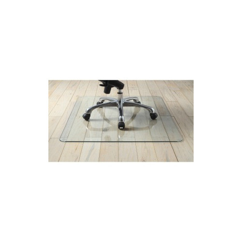 "Lorell Tempered Glass Chairmat, Floor, Pile Carpet, Hardwood Floor, Marble - 36"" Length x 46"" Width x 0.25"" Thickness - Rectangle - Tempered Glass - Clear"