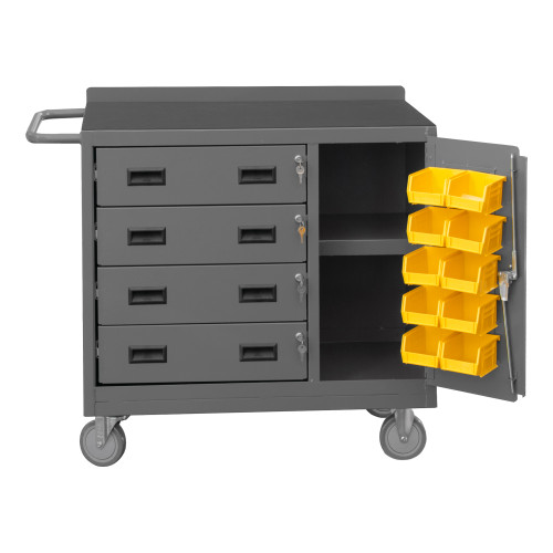 Mobile Bench Cabinet, 4 Drawer 2211-DLP-RM-10B-95