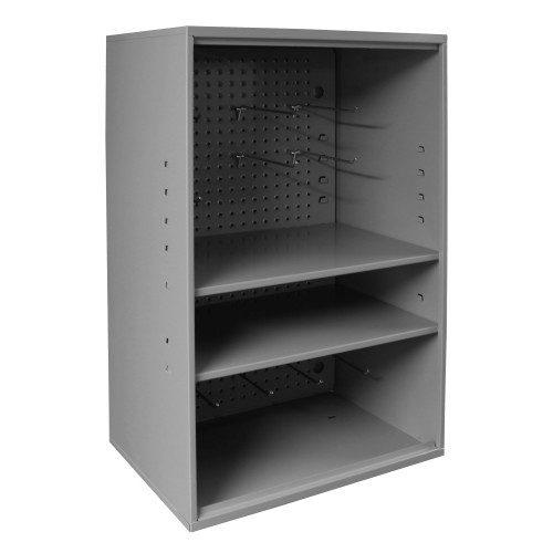 Original Durham Abrasive Storage Cabinet with Pegboard, Wall Mountable, 2 Adjustable Shelves, Gray