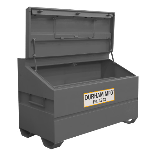 Original Durham Slope Lid, Jobsite Storage Box, 31 cu. ft., 14 Gauge Steel, 60 x 30 x 39-3/8, Gray
