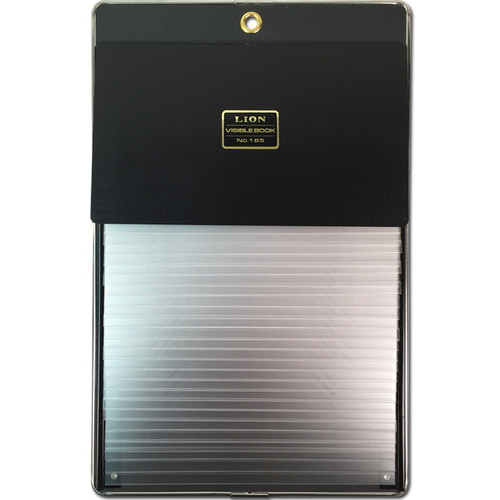 Portable record book (flat panel style) with 25 removable pockets, is designed to hold index cards, patient record, information cards, etc. Black panel is made of light and durable innovative material with protective steel rim for long lasting use. Metal hinged removable pockets have pre-cut notches that will accommodate 3 x 5, 4 x 6 and 8 x 5 size cards.