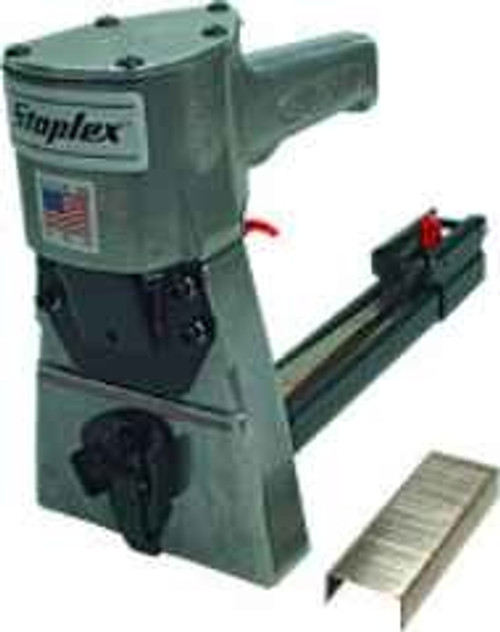 "Secures corrugated cartons for safe shipments Virtually effortless pneumatic operation eliminates operator fatigue, promotesneat box closures Re-loads 150 staples in seconds Uses 1-1/4"" x 5/8"" leg Staples (Staplex No. C32/15 Staples) Adjustable staple clinch depth Fast, portable, economical"