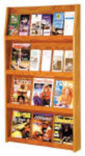 Valueline # LD-49-24-LO     24-Pocket Oak Wood     Magazine & Literature Display.     Dark Red Mahogany Finish