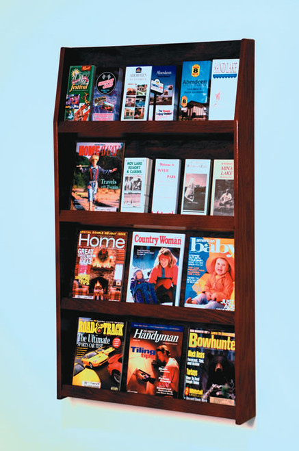 Valueline # LD-49-24-MO     24-Pocket Oak Wood     Magazine & Literature Display.     Medium Oak Finish