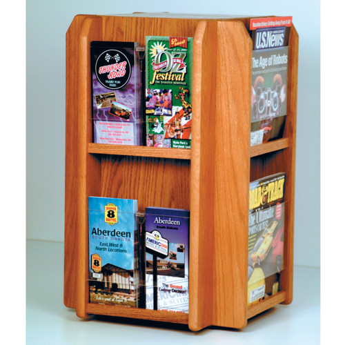 Divulge Spinning Counter Display with 8 Magazine/16 Brochure Pockets w/Brochure Inserts