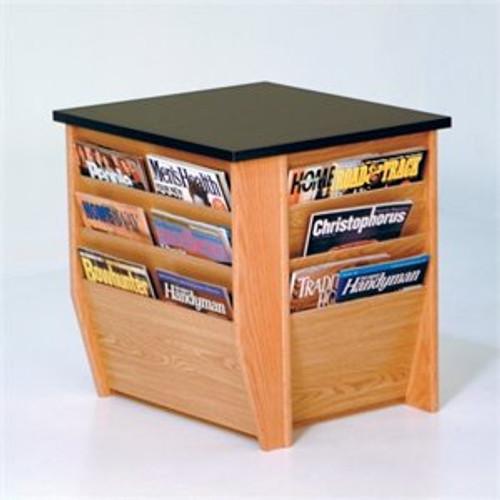 Wooden Mallet Dakota Wave End Table with Magazine Pockets, Black Granite-look Top, Light Oak