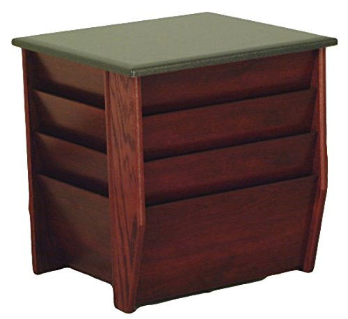 Wooden Mallet Dakota Wave End Table with Magazine Pockets, Black Granite-look Top, Mahogany