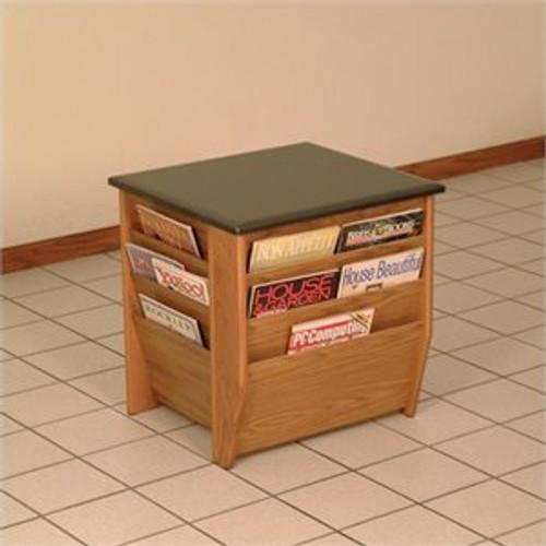 Wooden Mallet Dakota Wave End Table with Magazine Pockets, Black Granite-look Top, Medium Oak