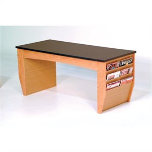 Wooden Mallet Dakota Wave Coffee Table with Magazine Pockets, Black Granite-look Top, Light Oak