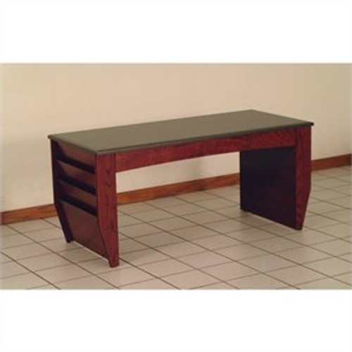 Wooden Mallet Dakota Wave Coffee Table with Magazine Pockets, Black Granite-look Top, Mahogany