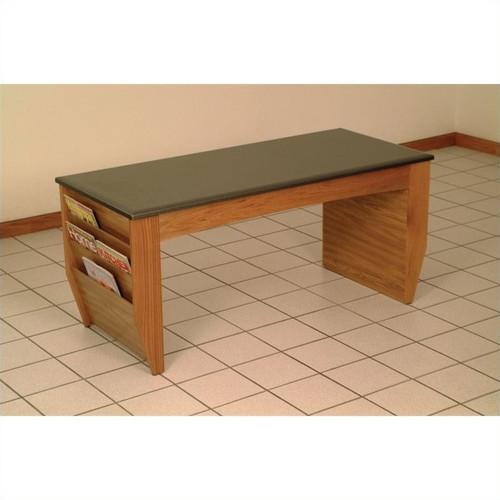 Wooden Mallet Dakota Wave Coffee Table with Magazine Pockets, Black Granite-look Top, Medium Oak