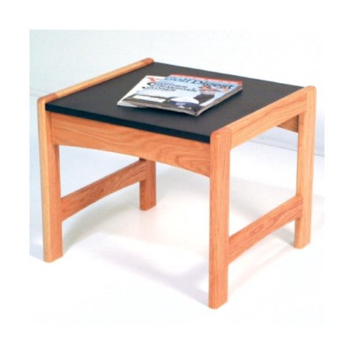 Wooden Mallet Dakota Wave End Table,  Black Granite-look Top, Light Oak