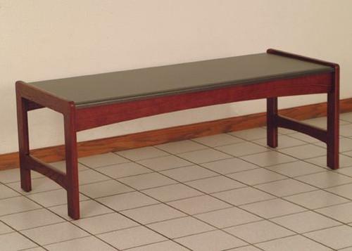 Wooden Mallet Dakota Wave Coffee Table,  Black Granite-look Top, Mahogany