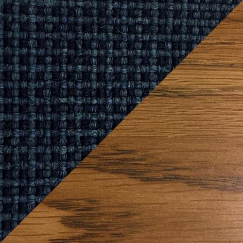 Wooden Mallet Dakota Wave Four Seat Bench, Blue Vinyl, Medium Oak