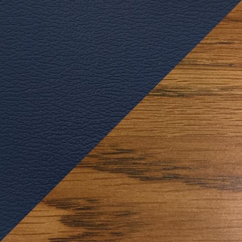 Wooden Mallet Dakota Wave Four Seat Bench, Cream Vinyl, Medium Oak