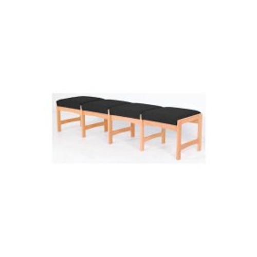 Wooden Mallet Dakota Wave Four Seat Bench, Black Vinyl, Medium Oak