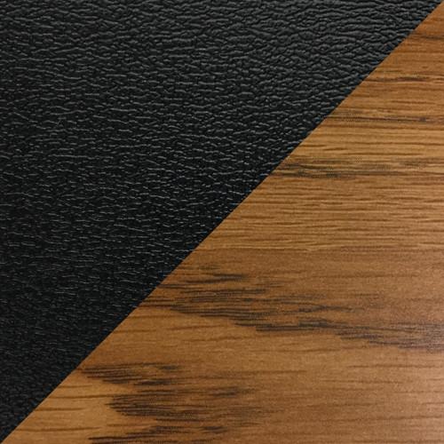 Wooden Mallet Dakota Wave Four Seat Bench, Mocha Vinyl, Medium Oak
