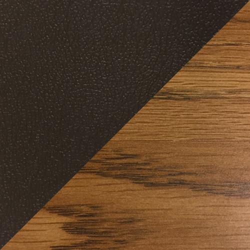 Wooden Mallet Dakota Wave Four Seat Bench, Wine Vinyl, Medium Oak