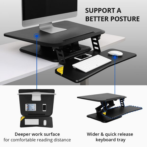 """FlexiSpot F3 27"""" Compact Riser Standing Desk Converter"""