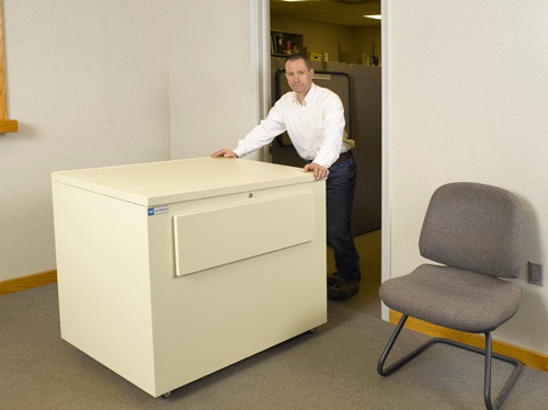 This blueprint file cabinet is mobile. And rolls easily even fully loaded through standard interior doorways.