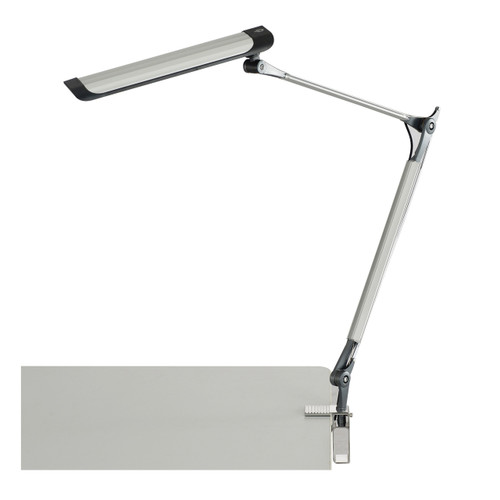 Silver 10W Z-Arm LED Drafting Light with C-Clamp & 3-Step Dimmer