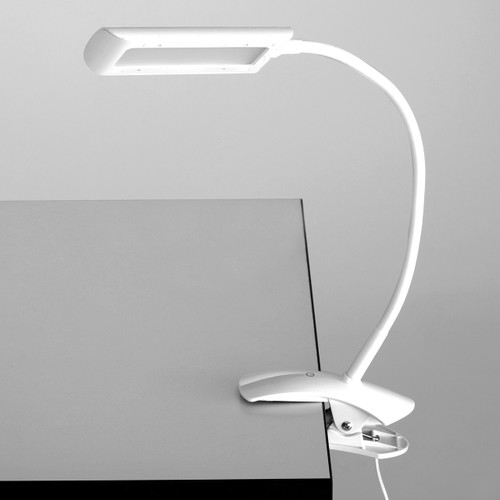 White 6W Clamp-On LED Task Light with Flexible Arm & 3-Step Dimmer