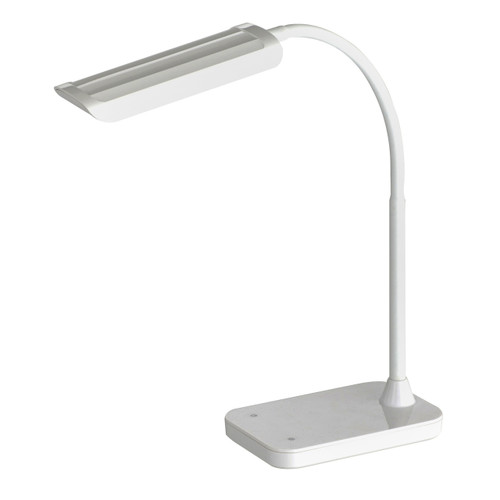 Mini-Vamp? White 12W LED Task Light with Flexible Arm, Touch Strip Dimmer & USB Port