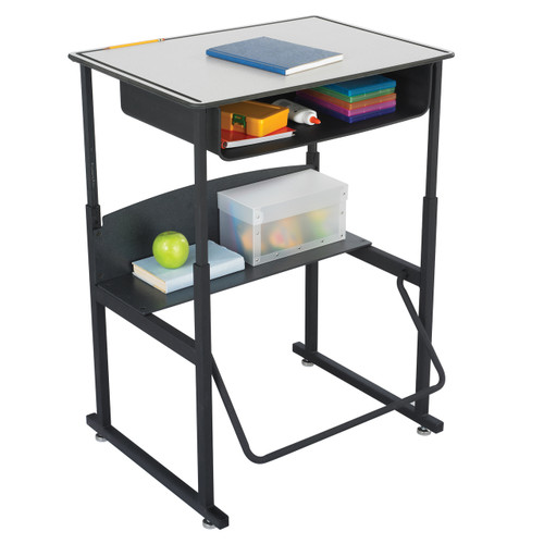 AlphaBetter Adjustable-Height Stand-Up Desk, 28 x 20? Premium Top, Book Box and Swinging Footrest Bar