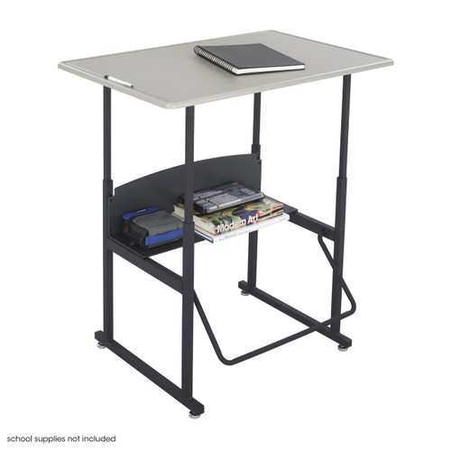 "AlphaBetter Adjustable-Height Stand-Up Desk, 36 x 24"" Standard Top and Swinging Footrest Bar"