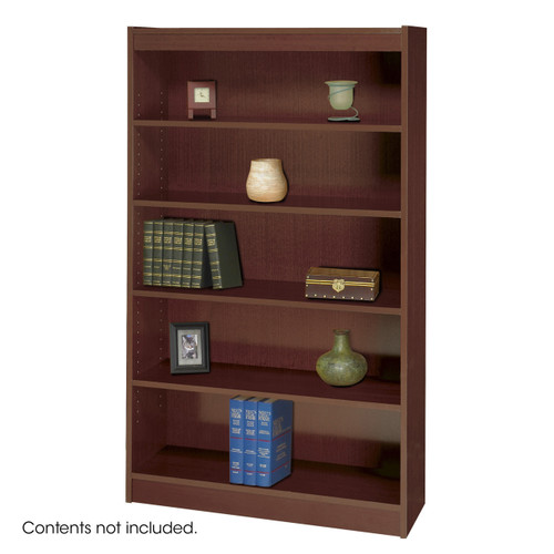 Square-Edge Veneer Bookcase - 5 Shelf