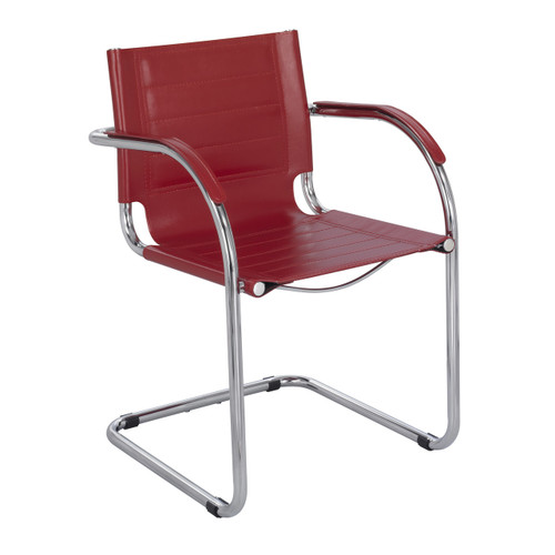 Flaunt Guest Chair Red Leather