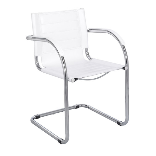 Flaunt Guest Chair White Leather